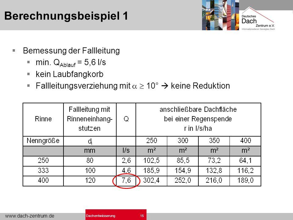 www.dach-zentrum.de 15Dachentwässerung Berechnungsbeispiel 1 Bemessung der Fallleitung min.