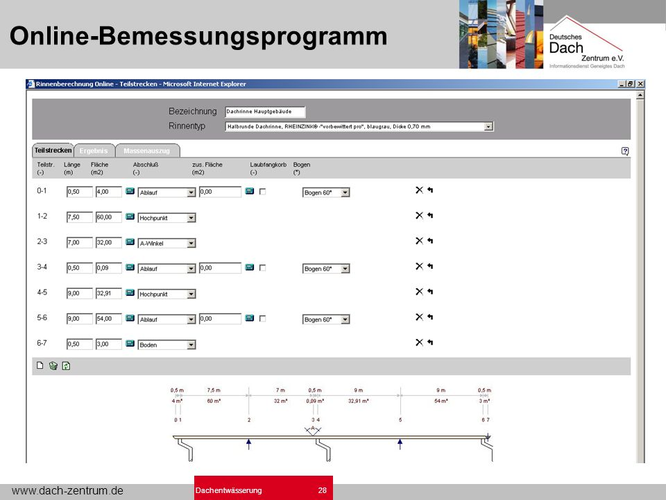 www.dach-zentrum.de 28Dachentwässerung Online-Bemessungsprogramm