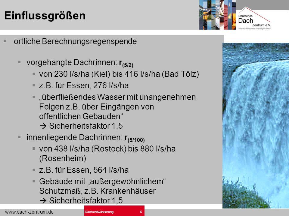 www.dach-zentrum.de 6Dachentwässerung Einflussgrößen örtliche Berechnungsregenspende vorgehängte Dachrinnen: r (5/2) von 230 l/s/ha (Kiel) bis 416 l/s/ha (Bad Tölz) z.B.