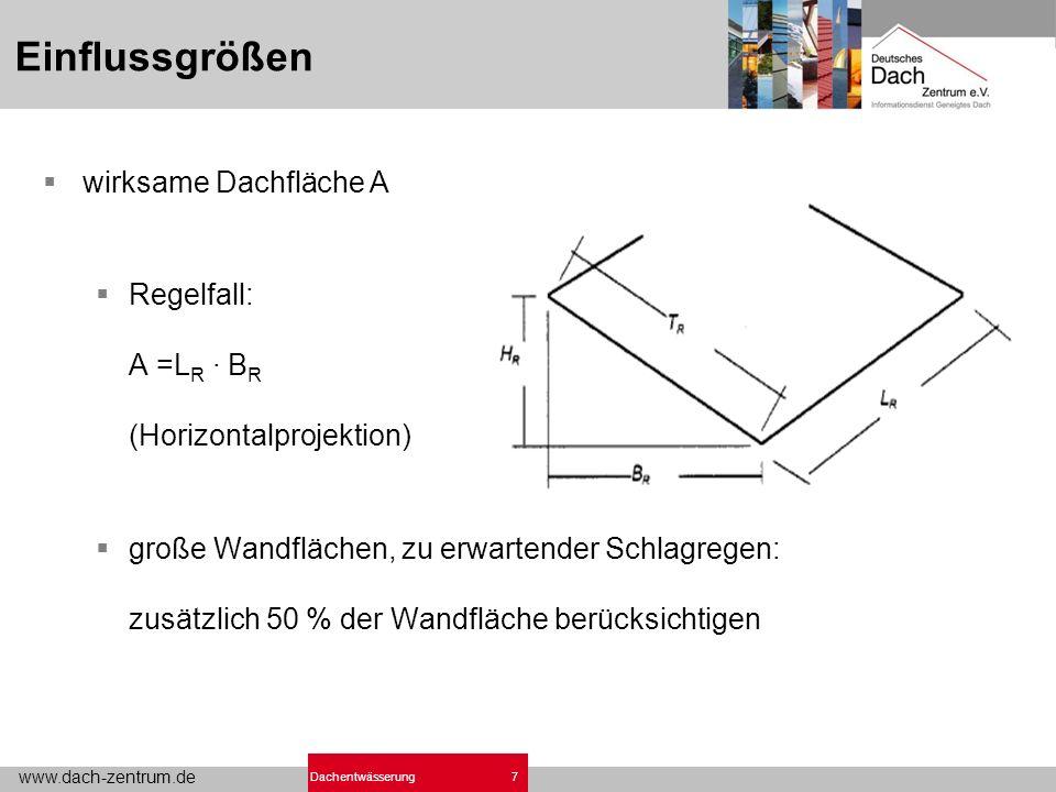 www.dach-zentrum.de 7Dachentwässerung Einflussgrößen wirksame Dachfläche A Regelfall: A =L R · B R (Horizontalprojektion) große Wandflächen, zu erwartender Schlagregen: zusätzlich 50 % der Wandfläche berücksichtigen