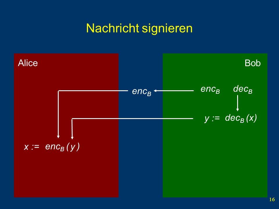 16 Bob Alice Nachricht signieren y := enc B dec B x dec B ( ) y enc B ( ) x := enc B