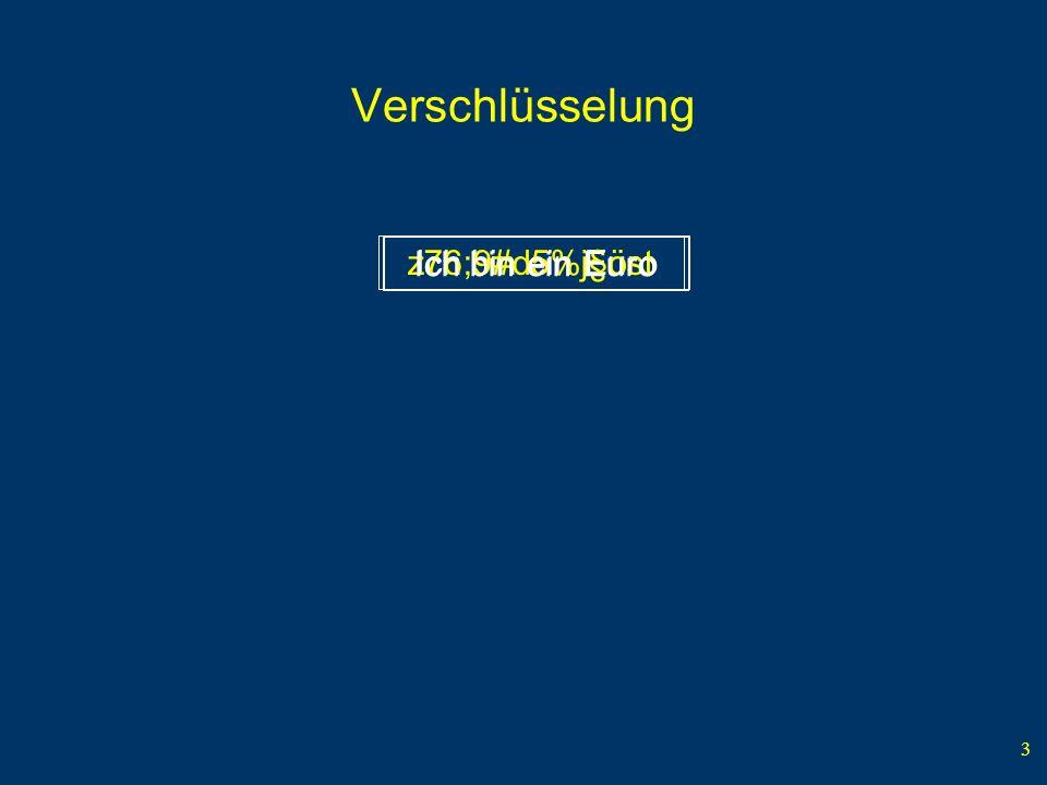 3 Verschlüsselung Ich bin ein Euroz76;9#d5%j§öst Ich bin ein Euro