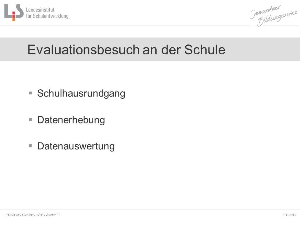 Fremdevaluation berufliche Schulen - 11 Hammer/ Schulhausrundgang Datenerhebung Datenauswertung Evaluationsbesuch an der Schule
