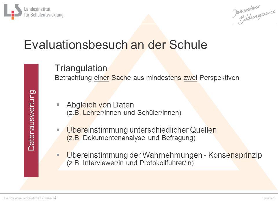 Fremdevaluation berufliche Schulen - 14 Hammer/ Datenauswertung Evaluationsbesuch an der Schule Triangulation Betrachtung einer Sache aus mindestens z