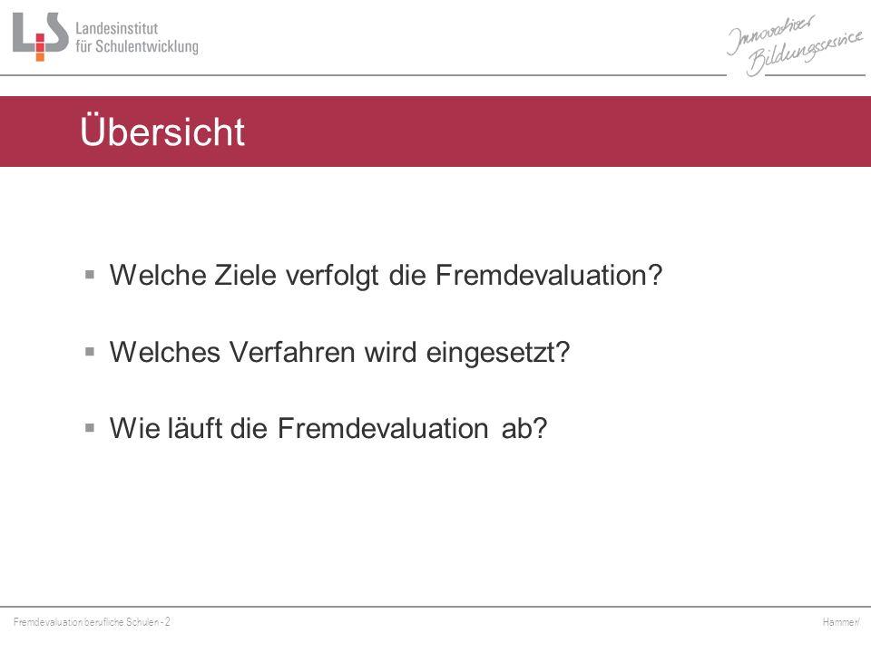 Fremdevaluation berufliche Schulen - 2 Hammer/ Welche Ziele verfolgt die Fremdevaluation? Welches Verfahren wird eingesetzt? Wie läuft die Fremdevalua