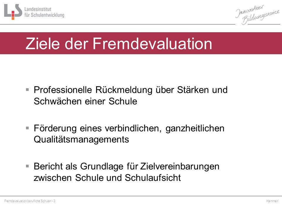 Fremdevaluation berufliche Schulen - 3 Hammer/ Ziele der Fremdevaluation Professionelle Rückmeldung über Stärken und Schwächen einer Schule Förderung
