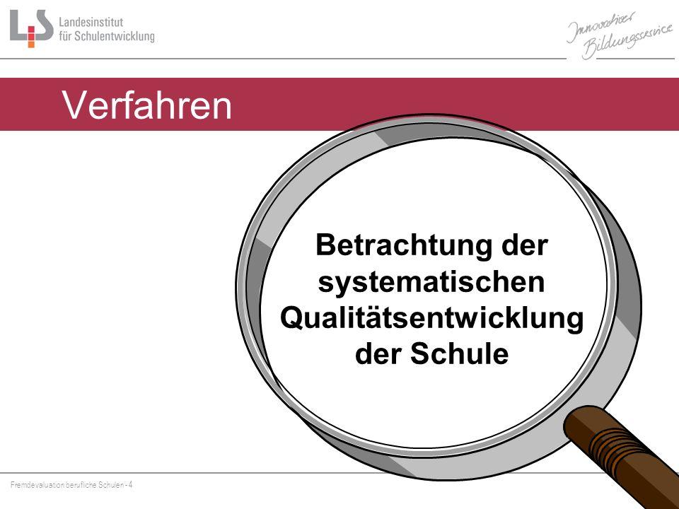 Fremdevaluation berufliche Schulen - 4 Hammer/ Verfahren Betrachtung der systematischen Qualitätsentwicklung der Schule