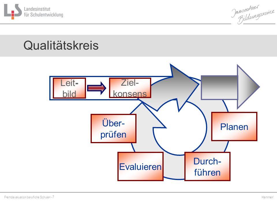 Fremdevaluation berufliche Schulen - 7 Hammer/ Qualitätskreis Leit- bild Durch- führen Planen Evaluieren Über- prüfen Ziel- konsens