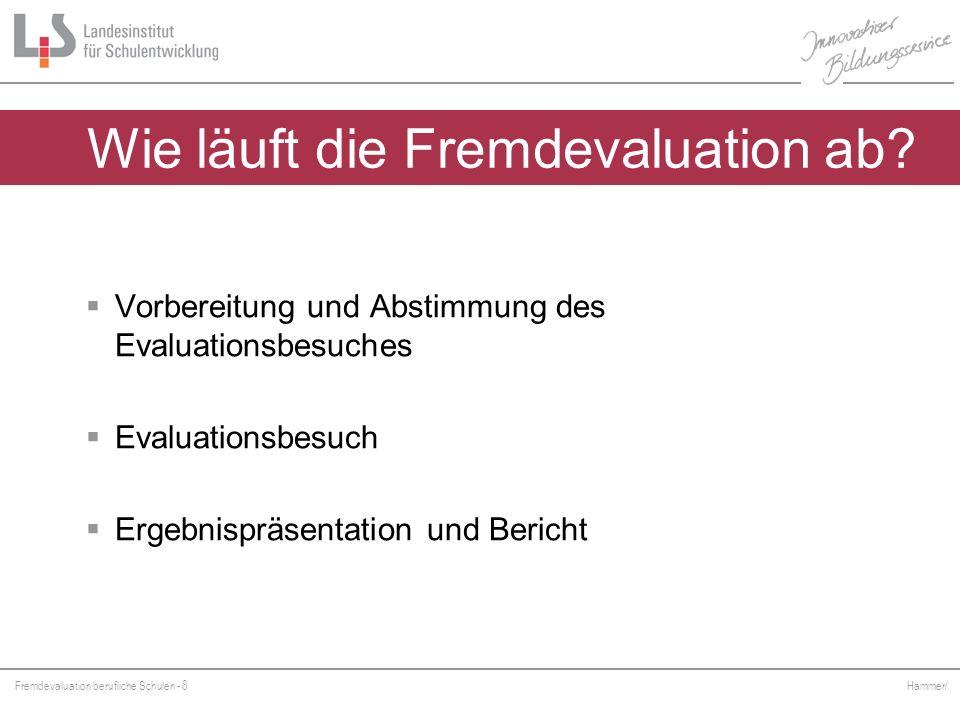 Fremdevaluation berufliche Schulen - 8 Hammer/ Wie läuft die Fremdevaluation ab? Vorbereitung und Abstimmung des Evaluationsbesuches Evaluationsbesuch