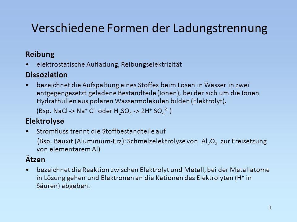 Verschiedene Formen der Ladungstrennung Reibung elektrostatische Aufladung, Reibungselektrizität Dissoziation bezeichnet die Aufspaltung eines Stoffes