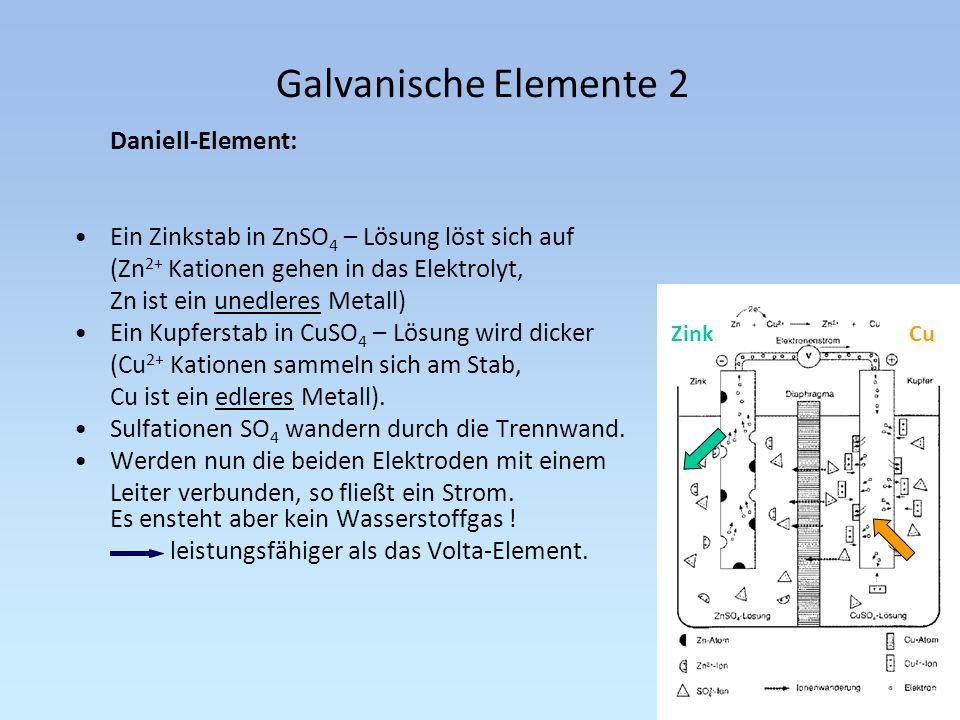 Galvanische Elemente 2 Daniell-Element: Ein Zinkstab in ZnSO 4 – Lösung löst sich auf (Zn 2+ Kationen gehen in das Elektrolyt, Zn ist ein unedleres Me