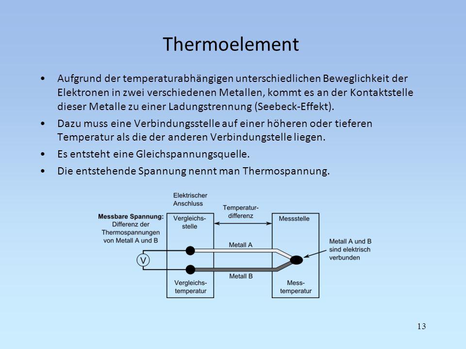 Thermoelement Aufgrund der temperaturabhängigen unterschiedlichen Beweglichkeit der Elektronen in zwei verschiedenen Metallen, kommt es an der Kontakt
