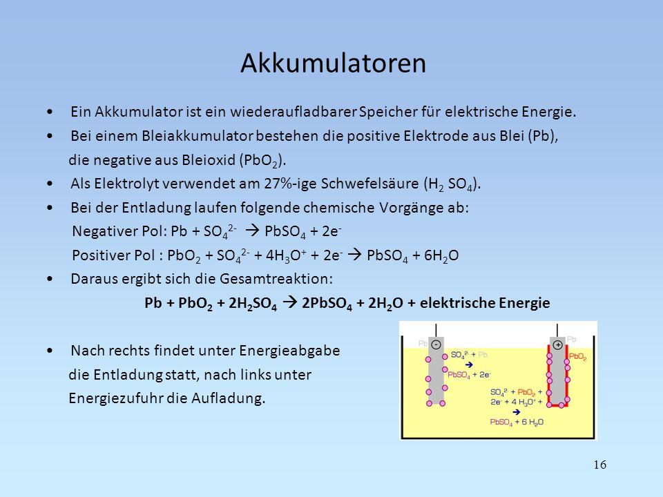 Akkumulatoren Ein Akkumulator ist ein wiederaufladbarer Speicher für elektrische Energie. Bei einem Bleiakkumulator bestehen die positive Elektrode au