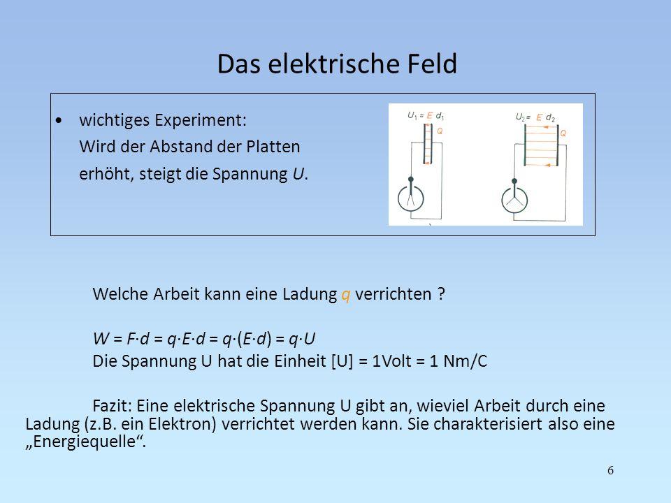 Das elektrische Feld 6 wichtiges Experiment: Wird der Abstand der Platten erhöht, steigt die Spannung U. Welche Arbeit kann eine Ladung q verrichten ?