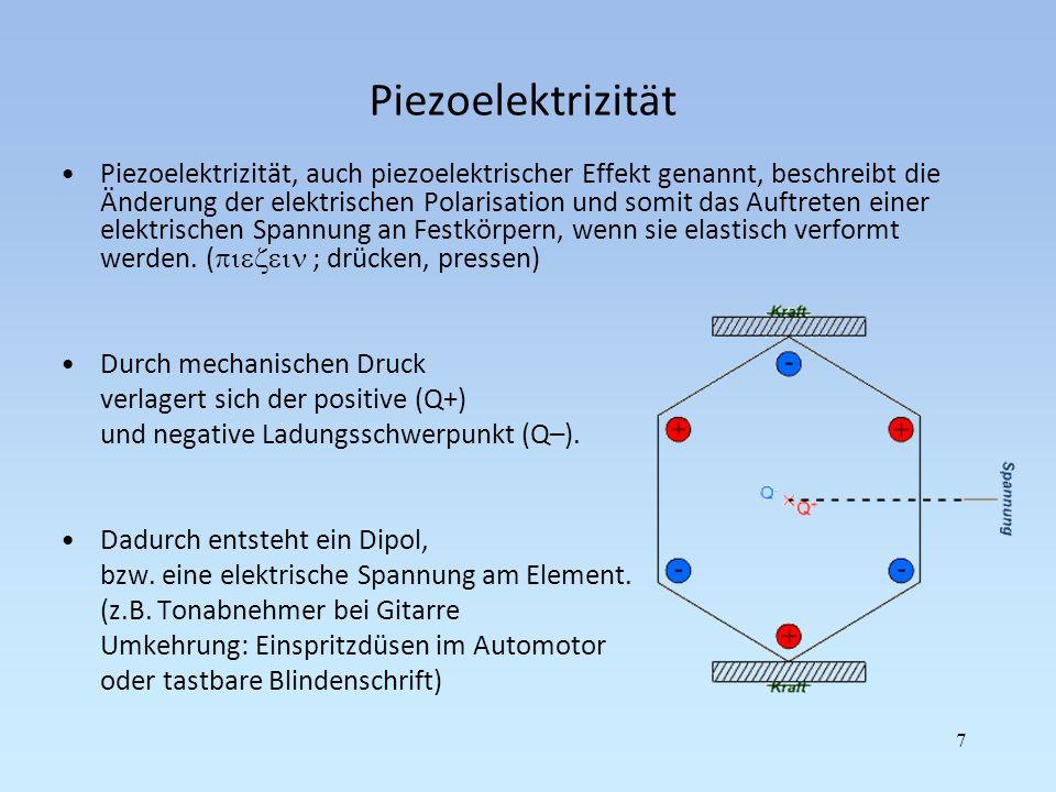 Piezoelektrizität Piezoelektrizität, auch piezoelektrischer Effekt genannt, beschreibt die Änderung der elektrischen Polarisation und somit das Auftre