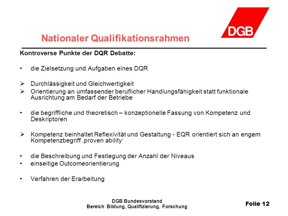 Folie 12 DGB Bundesvorstand Bereich Bildung, Qualifizierung, Forschung Nationaler Qualifikationsrahmen Kontroverse Punkte der DQR Debatte: die Zielset