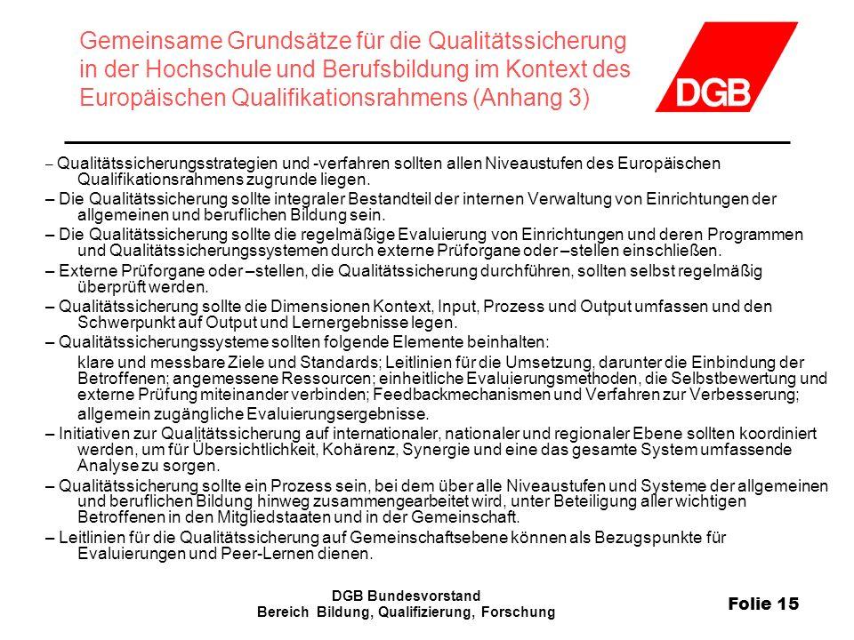 Folie 15 DGB Bundesvorstand Bereich Bildung, Qualifizierung, Forschung Gemeinsame Grundsätze für die Qualitätssicherung in der Hochschule und Berufsbi
