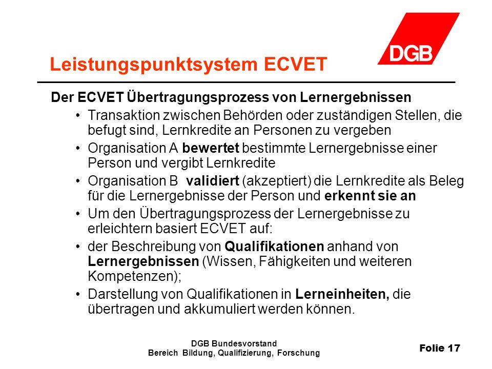Folie 17 DGB Bundesvorstand Bereich Bildung, Qualifizierung, Forschung Leistungspunktsystem ECVET Der ECVET Übertragungsprozess von Lernergebnissen Tr