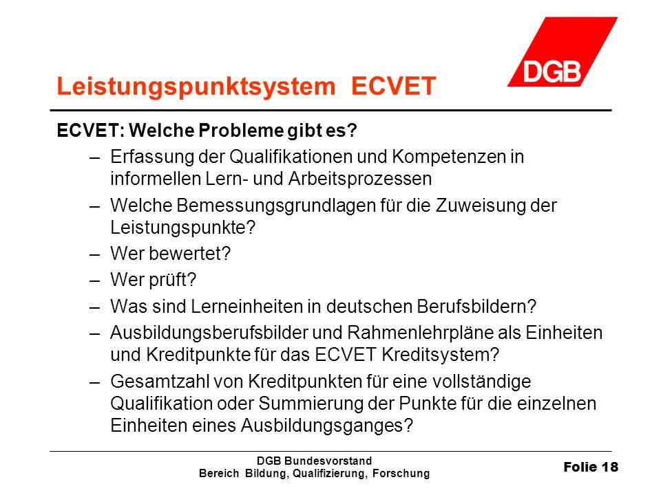 Folie 18 DGB Bundesvorstand Bereich Bildung, Qualifizierung, Forschung Leistungspunktsystem ECVET ECVET: Welche Probleme gibt es? –Erfassung der Quali