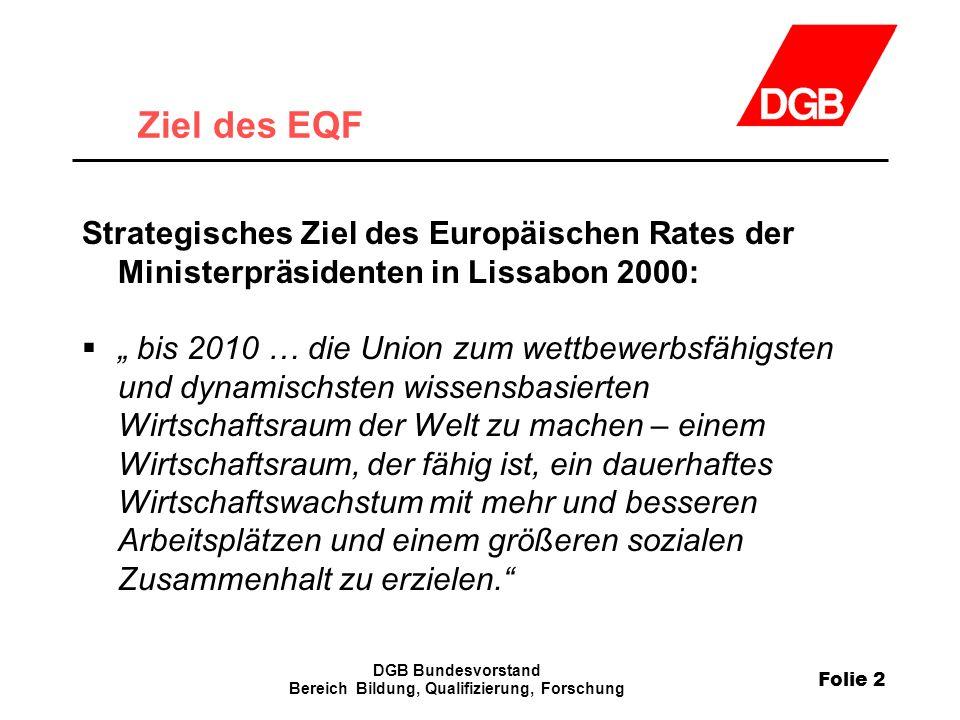 Folie 2 DGB Bundesvorstand Bereich Bildung, Qualifizierung, Forschung Ziel des EQF Strategisches Ziel des Europäischen Rates der Ministerpräsidenten i