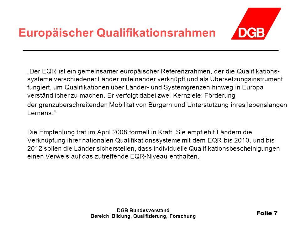 Folie 7 DGB Bundesvorstand Bereich Bildung, Qualifizierung, Forschung Europäischer Qualifikationsrahmen Der EQR ist ein gemeinsamer europäischer Refer