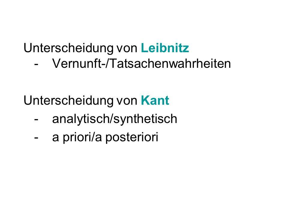 Unterscheidung von Leibnitz -Vernunft-/Tatsachenwahrheiten Unterscheidung von Kant -analytisch/synthetisch -a priori/a posteriori
