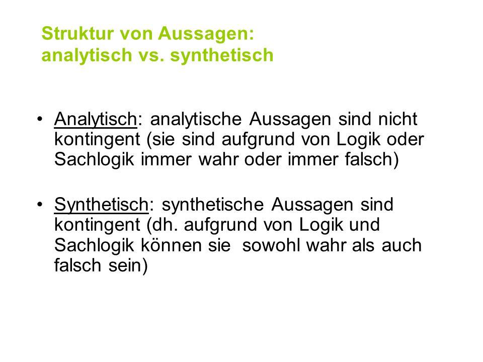 Struktur von Aussagen: analytisch vs. synthetisch Analytisch: analytische Aussagen sind nicht kontingent (sie sind aufgrund von Logik oder Sachlogik i
