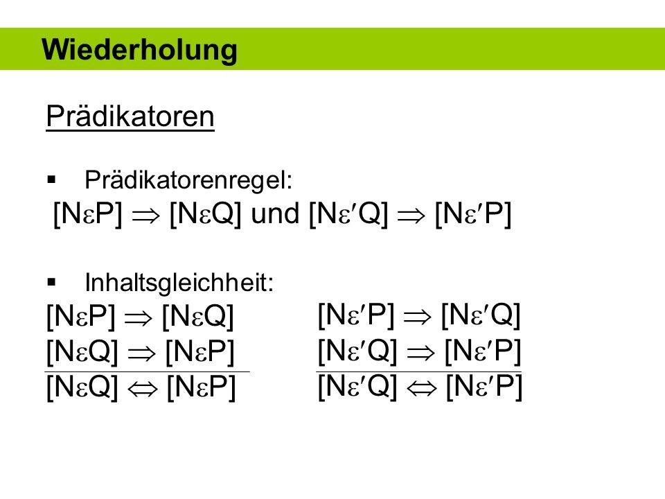 Prädikatoren Konträrer Gegensatz: [N P] [N Q] und [N Q] [N P] Kontradiktorischer Gegensatz: [N P] [N Q] und [N Q] [N P] Polarkonträrer Gegensatz Wiederholung