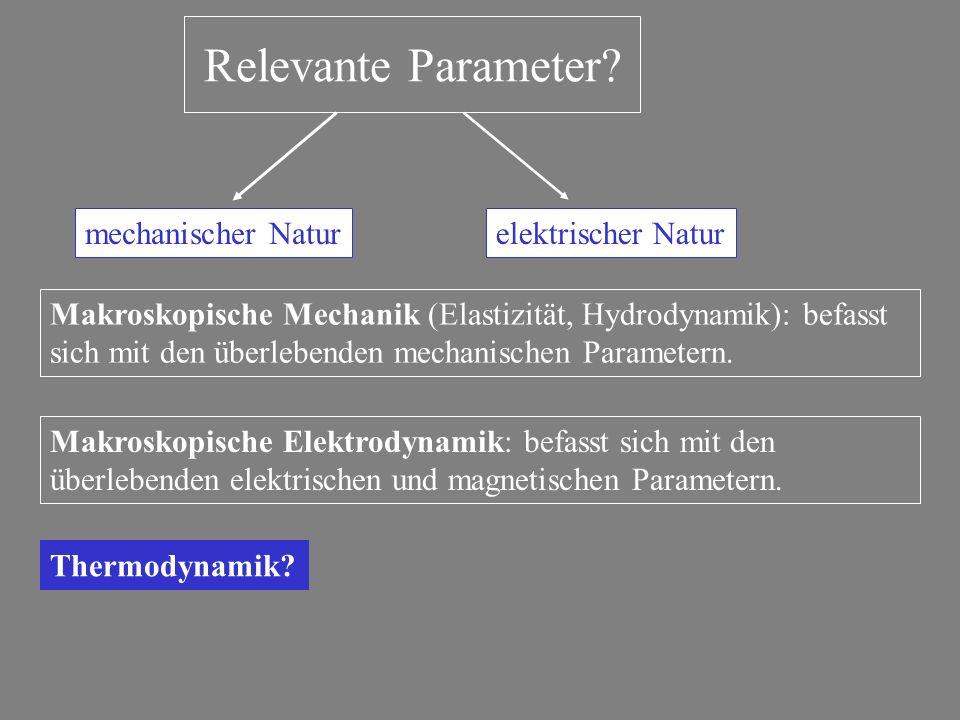 Relevante Parameter? mechanischer Naturelektrischer Natur Makroskopische Mechanik (Elastizität, Hydrodynamik): befasst sich mit den überlebenden mecha