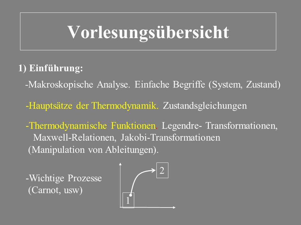 Vorlesungsübersicht 1) Einführung: -Makroskopische Analyse. Einfache Begriffe (System, Zustand) -Hauptsätze der Thermodynamik. Zustandsgleichungen -Th