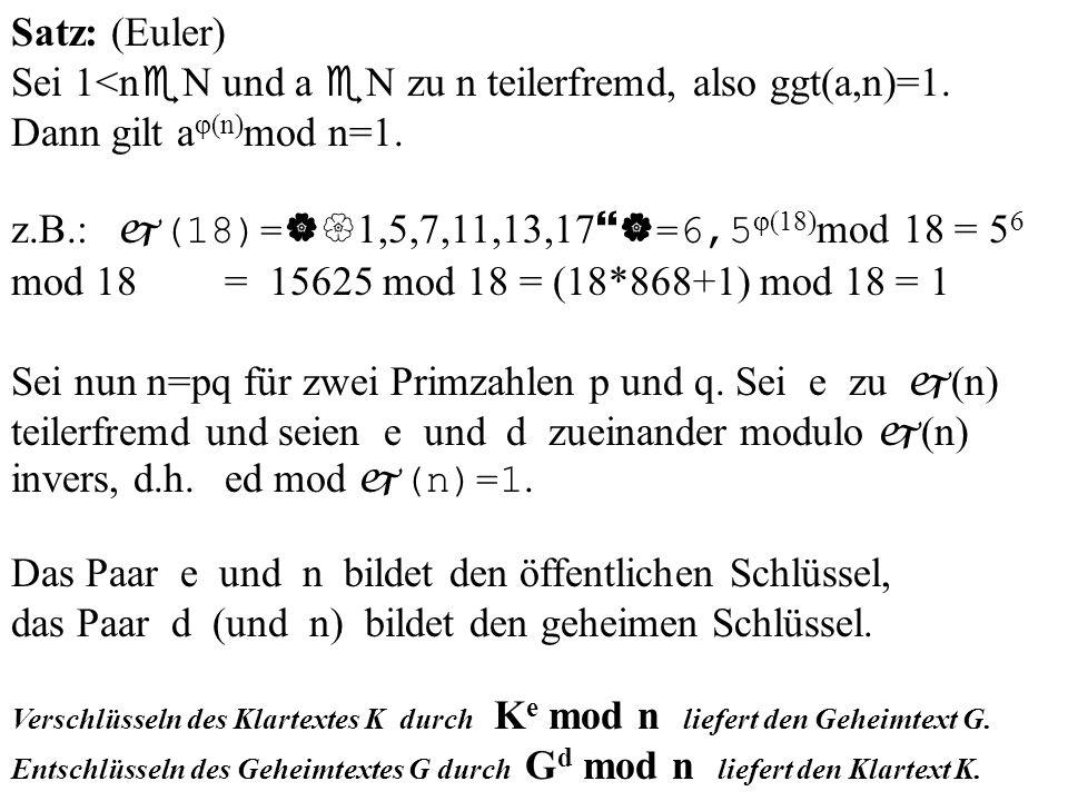 Satz: (Euler) Sei 1<n N und a N zu n teilerfremd, also ggt(a,n)=1. Dann gilt a (n) mod n=1. z.B.: (18)= 1,5,7,11,13,17 =6,5 (18) mod 18 = 5 6 mod 18 =