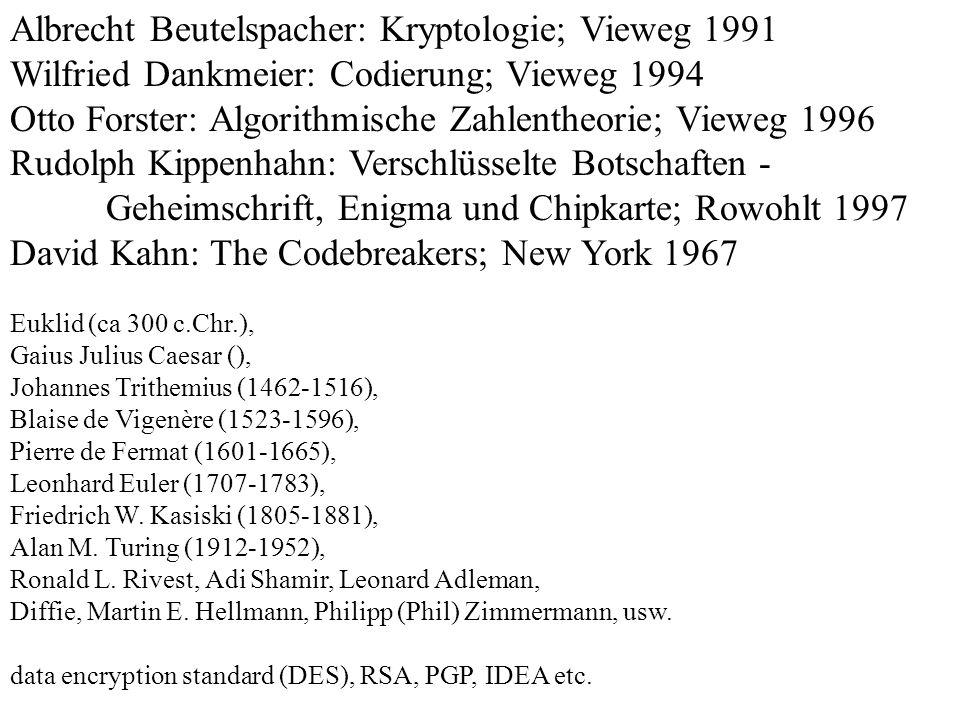 Albrecht Beutelspacher: Kryptologie; Vieweg 1991 Wilfried Dankmeier: Codierung; Vieweg 1994 Otto Forster: Algorithmische Zahlentheorie; Vieweg 1996 Ru