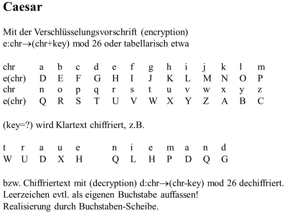Caesar Mit der Verschlüsselungsvorschrift (encryption) e:chr (chr+key) mod 26 oder tabellarisch etwa chrabcdefghijklm e(chr)DEFGHIJKLMNOP chrnopqrstuv
