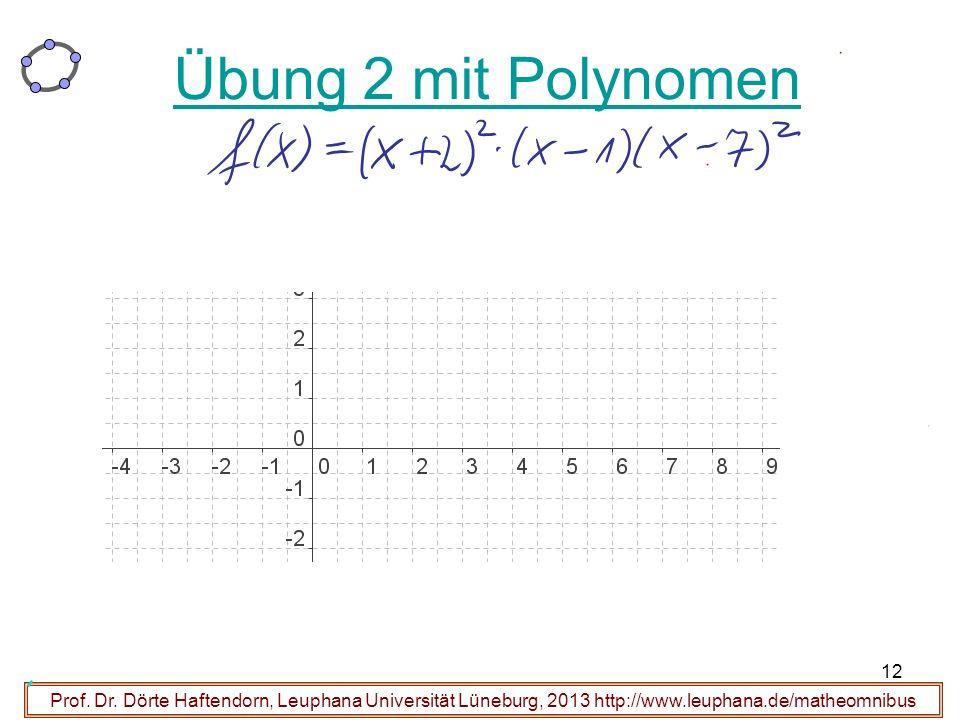 12 Prof. Dr. Dörte Haftendorn, Leuphana Universität Lüneburg, 2013 http://www.leuphana.de/matheomnibus Übung 2 mit Polynomen