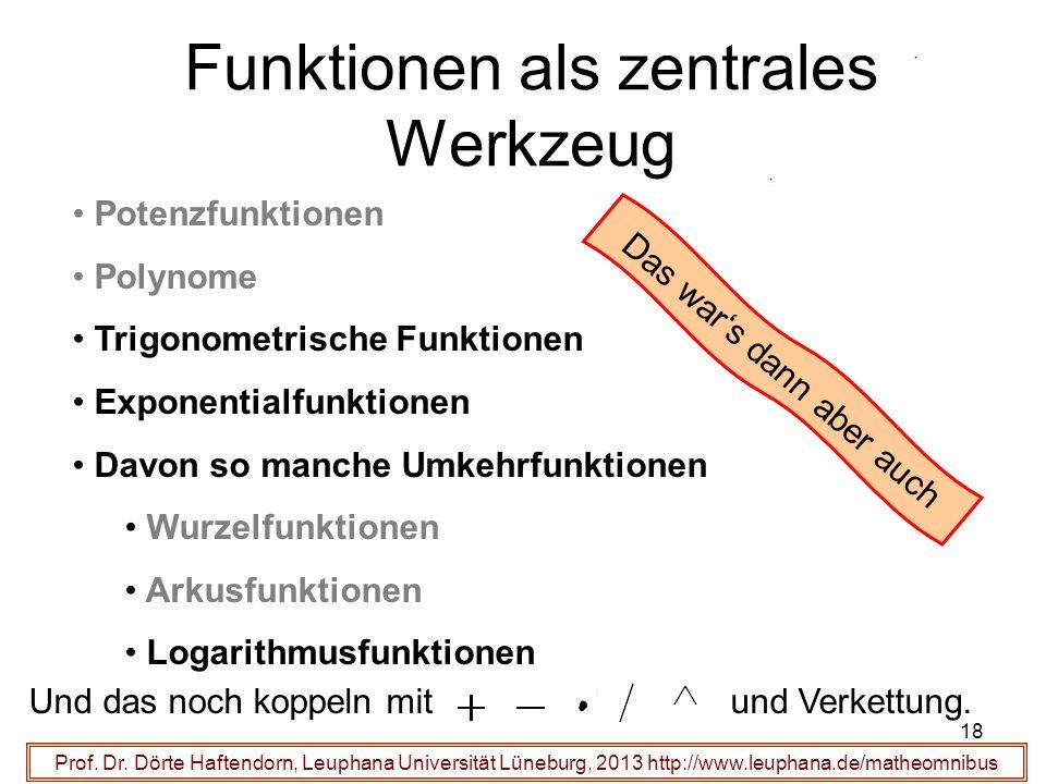 18 Funktionen als zentrales Werkzeug Prof. Dr. Dörte Haftendorn, Leuphana Universität Lüneburg, 2013 http://www.leuphana.de/matheomnibus Potenzfunktio