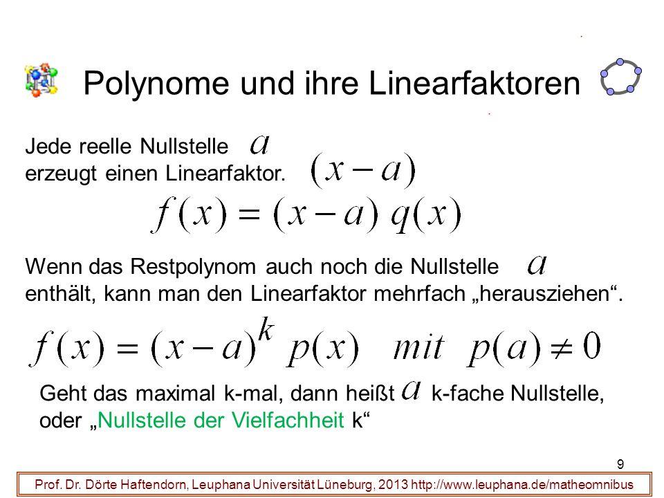 9 Polynome und ihre Linearfaktoren Prof. Dr. Dörte Haftendorn, Leuphana Universität Lüneburg, 2013 http://www.leuphana.de/matheomnibus Jede reelle Nul