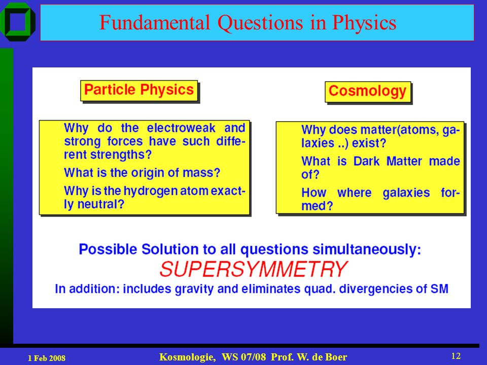 1 Feb 2008 Kosmologie, WS 07/08 Prof. W. de Boer 12 Fundamental Questions in Physics