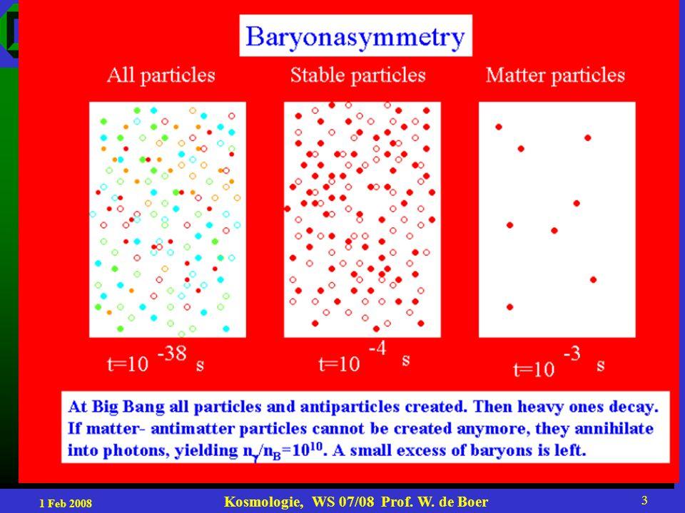 1 Feb 2008 Kosmologie, WS 07/08 Prof. W. de Boer 14 Main SUSY signature: missing energy