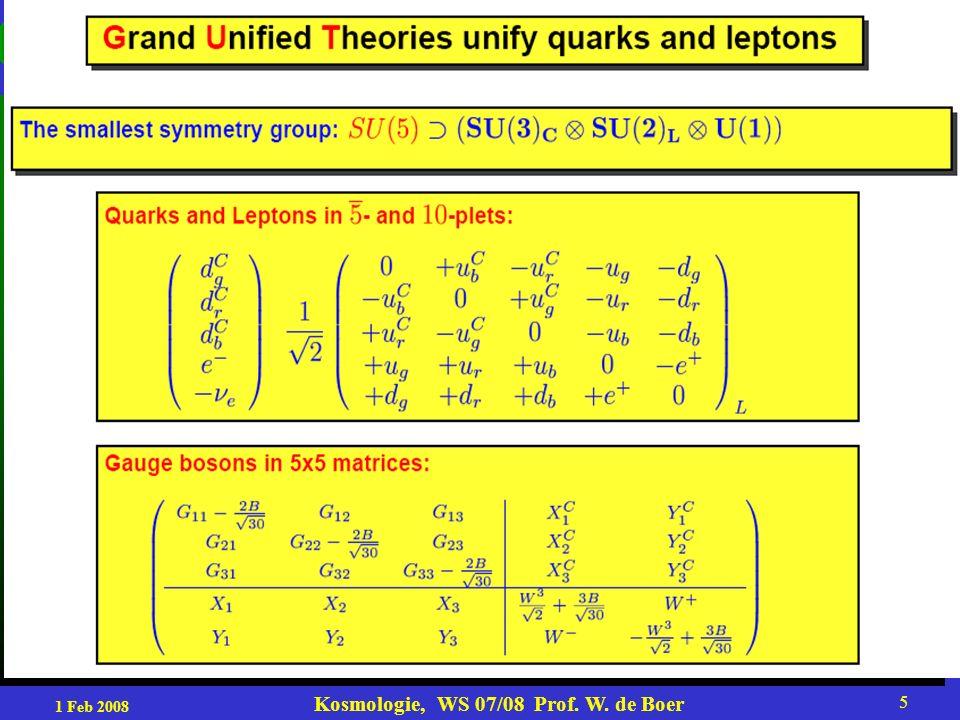 1 Feb 2008 Kosmologie, WS 07/08 Prof.W.