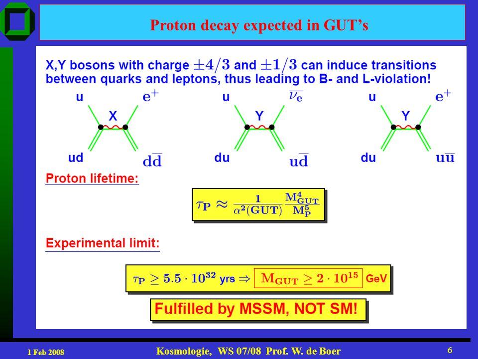 1 Feb 2008 Kosmologie, WS 07/08 Prof.W. de Boer 7 Proton decay Without R-parity fast Proton decay.