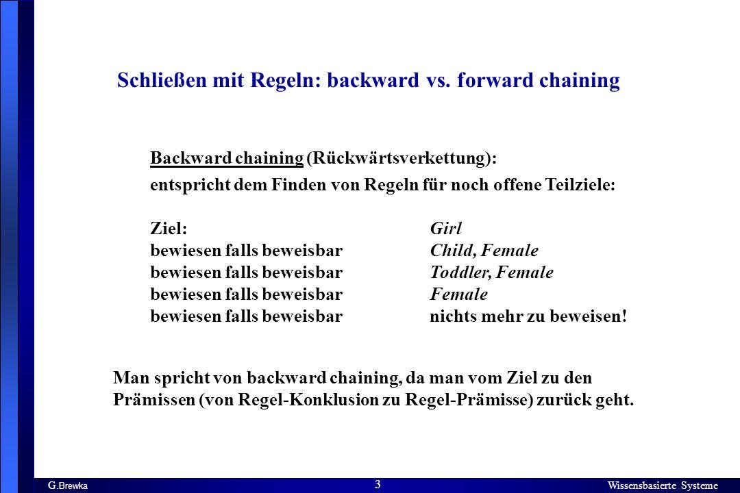 Wissensbasierte Systeme 3 G. Brewka Wissensbasierte Systeme 3 Schließen mit Regeln: backward vs. forward chaining Backward chaining (Rückwärtsverkettu