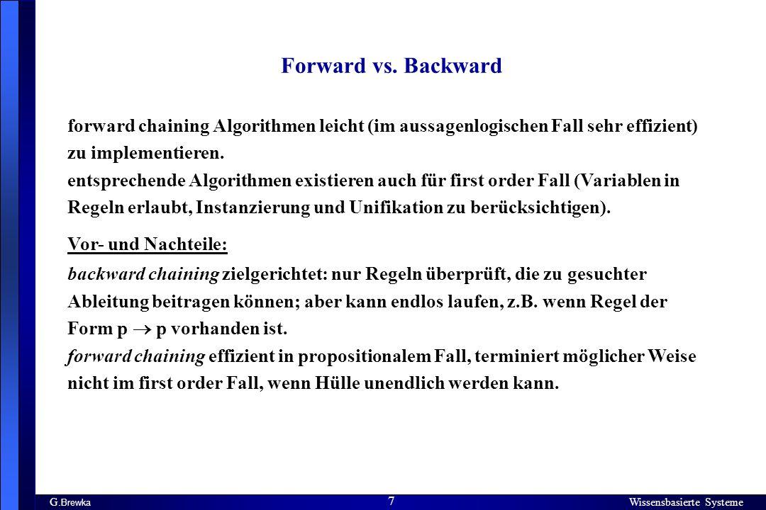 Wissensbasierte Systeme 8 G.Brewka Wissensbasierte Systeme 8 Vorwärtsverkettung kann besser sein.