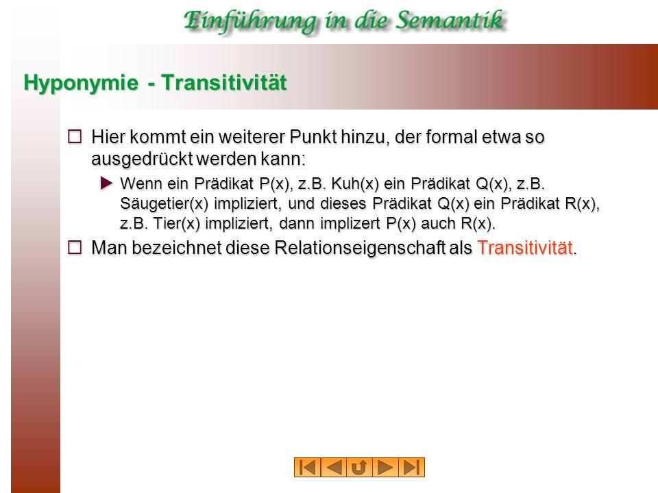 Hyponymie - Transitivität Hier kommt ein weiterer Punkt hinzu, der formal etwa so ausgedrückt werden kann: Hier kommt ein weiterer Punkt hinzu, der fo