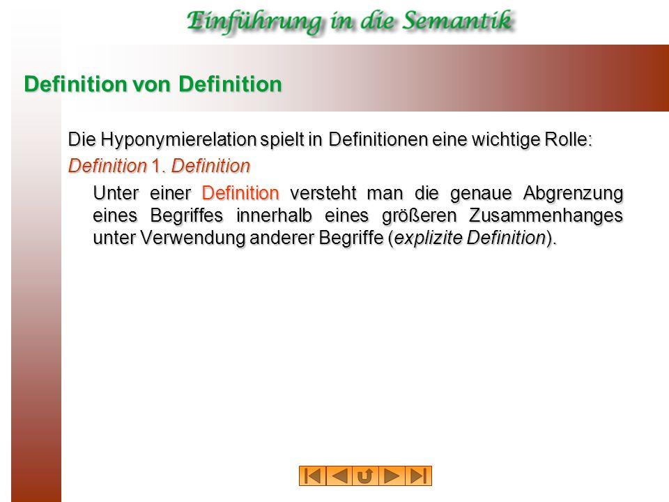 Definition von Definition Die Hyponymierelation spielt in Definitionen eine wichtige Rolle: Definition 1. Definition Unter einer Definition versteht m
