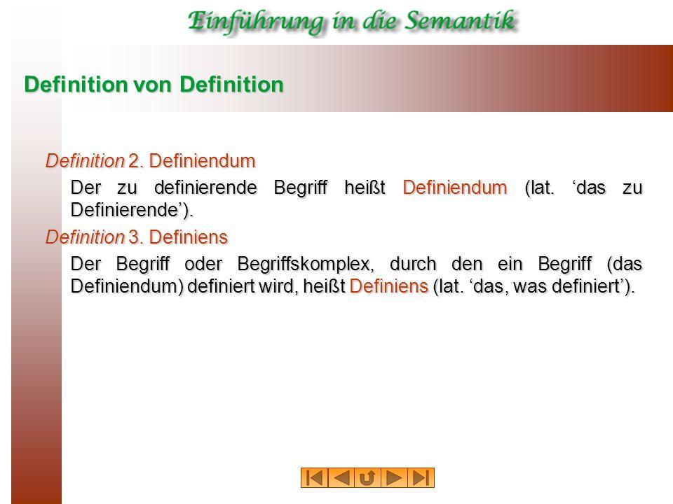 Definition von Definition Definition 2. Definiendum Der zu definierende Begriff heißt Definiendum (lat. das zu Definierende). Definition 3. Definiens