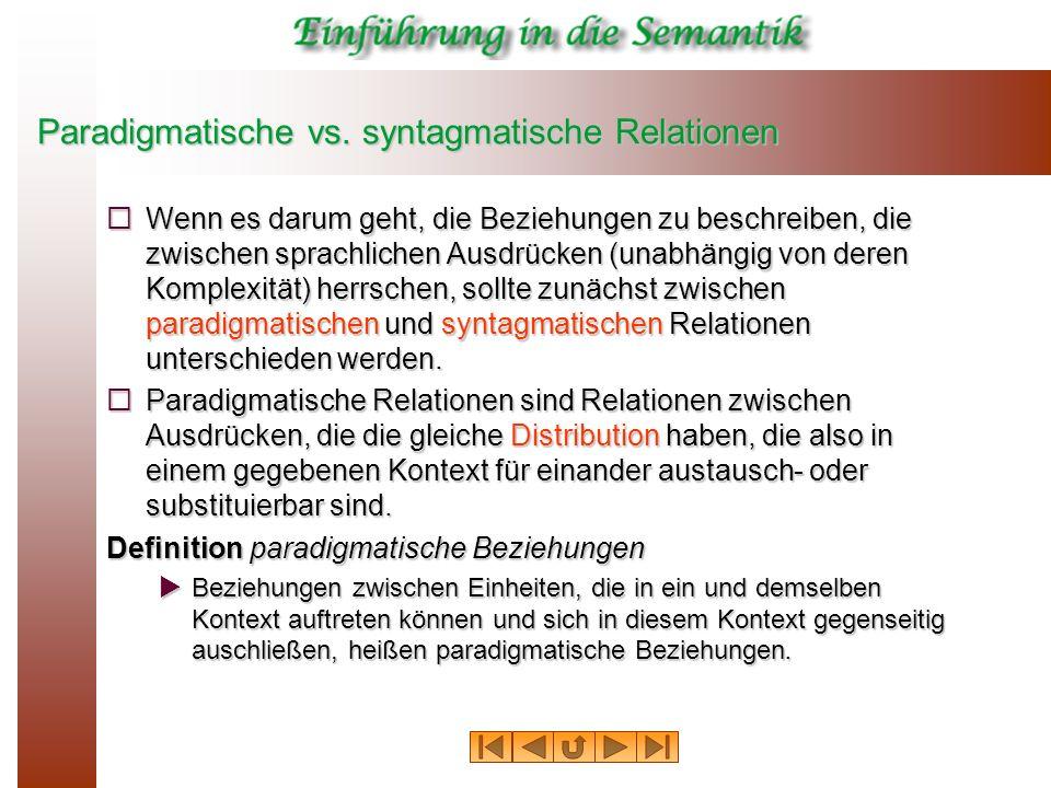 Paradigmatische vs. syntagmatische Relationen Wenn es darum geht, die Beziehungen zu beschreiben, die zwischen sprachlichen Ausdrücken (unabhängig von