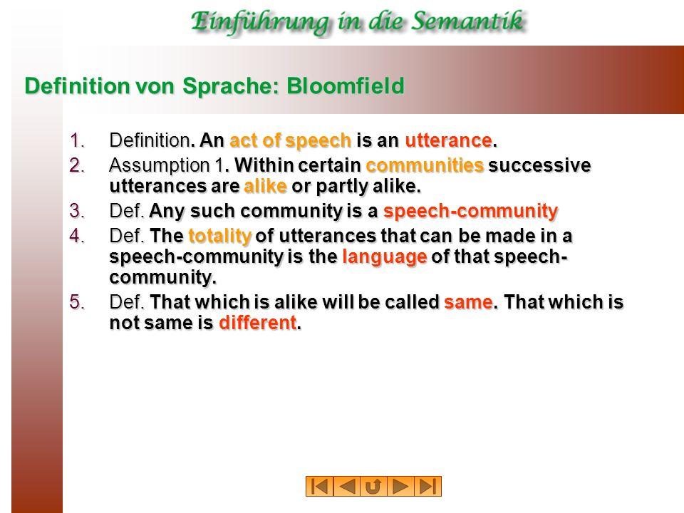 Definition von Sprache: Bloomfield 1.Definition. An act of speech is an utterance. 2.Assumption 1. Within certain communities successive utterances ar