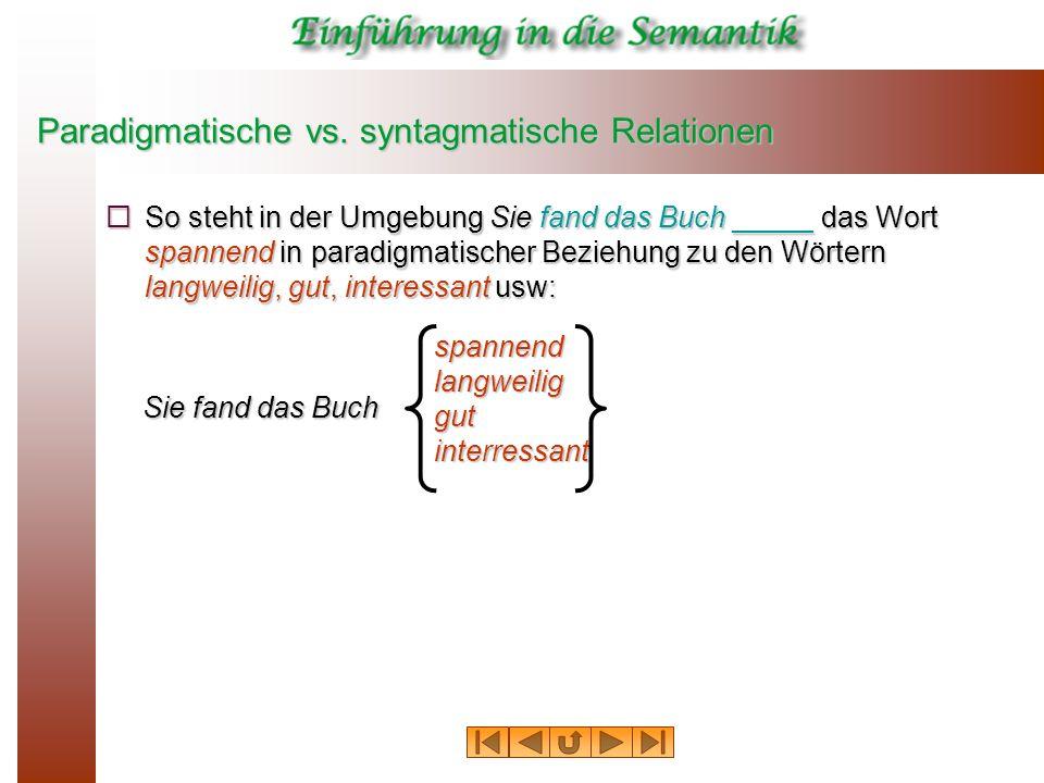 Paradigmatische vs. syntagmatische Relationen So steht in der Umgebung Sie fand das Buch _____ das Wort spannend in paradigmatischer Beziehung zu den