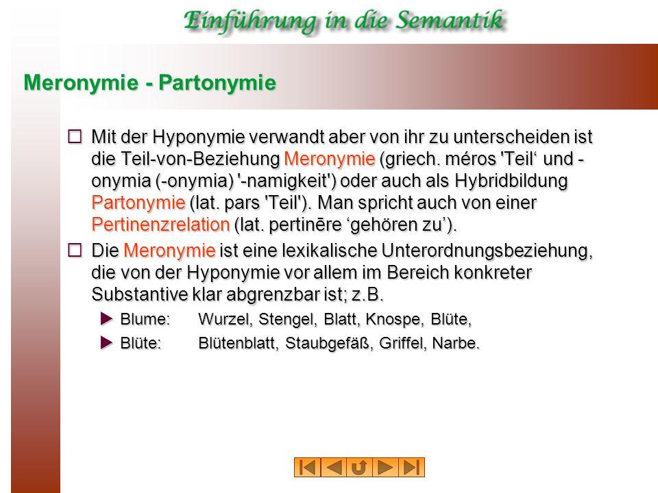 Meronymie - Partonymie Mit der Hyponymie verwandt aber von ihr zu unterscheiden ist die Teil-von-Beziehung Meronymie (griech. méros 'Teil und - onymia