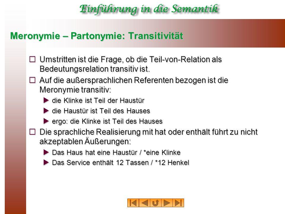 Meronymie – Partonymie: Transitivität Umstritten ist die Frage, ob die Teil-von-Relation als Bedeutungsrelation transitiv ist. Umstritten ist die Frag